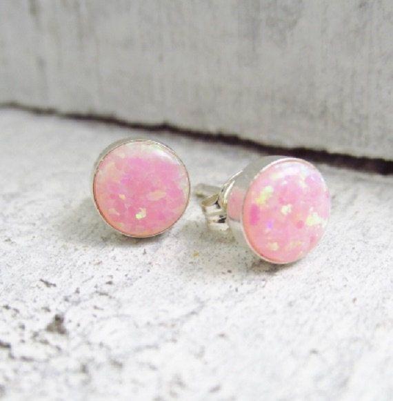 Rosa Opal Ohrringe Sterling Silber Opal von PinkingEdgeDesigns