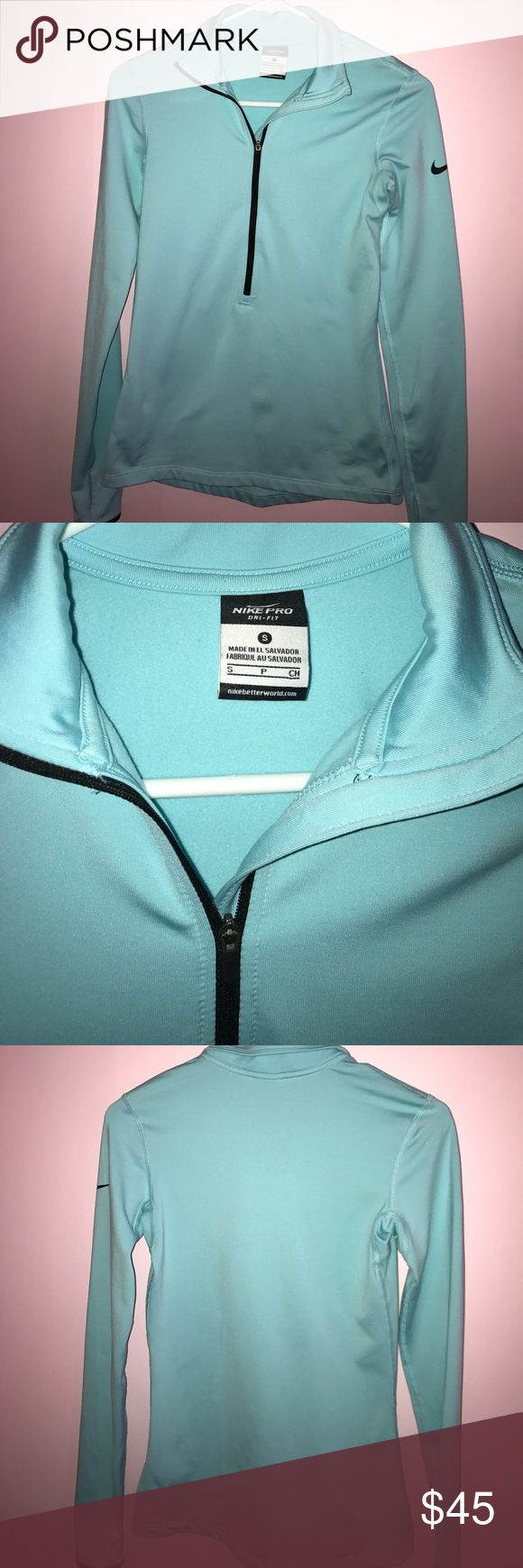 Nike Pro Quarter Zip Brand new without tags ...gorgeous Tiffany blue color this is a tight fitting top perfect for working out or looking cute ...never worn it is a size small but fits like an extra small Nike Tops Tees - Long Sleeve