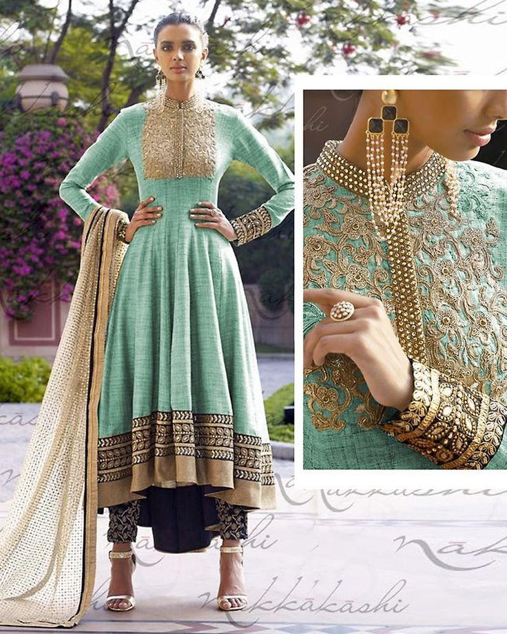 Turquoise Color with Butta Work Exquisite Unstitched Salwar Kameez The lovely Resham & Lace work a substantial attribute of this attire. #anarkali #style #suits #online #lushika #shopping