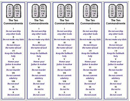 Five printable Ten Commandments bookmarks print per page, free printable from ActivitiesForKids.com  - great handout for VBS