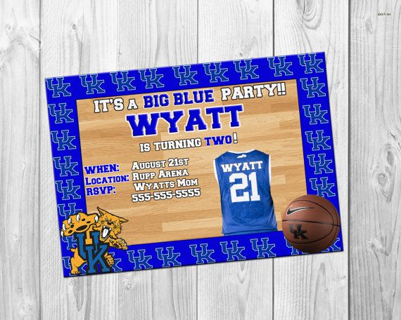 The 81 best invitations images on pinterest kentucky basketball birthday invitation uk basketball kentucky party uk birthday big blue favor tags filmwisefo