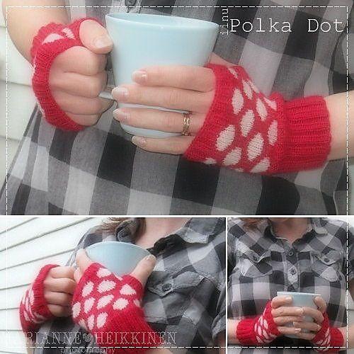 Ravelry: Polka Dot Fingerless Mitts pattern by Marianne Heikkinen