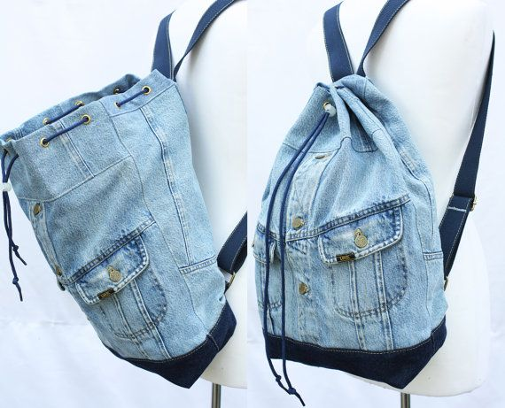 denim backpack repurposed jean jacket big bucket drawstring bag vintage 80s 90s grunge backpack hipster upcycled recycled laptop sleeve