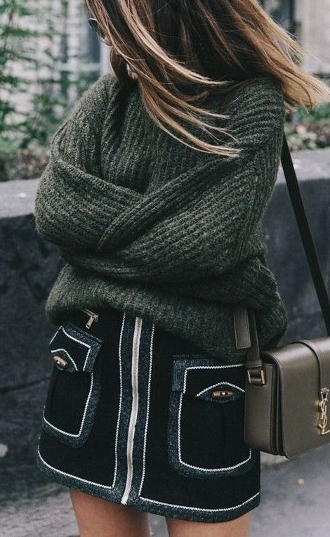slouchy knit sweater and textured skirt for winter to spring