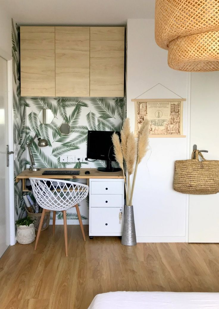 Office Corner Makeover Floral And Vintage Ambiance En 2020 Mini