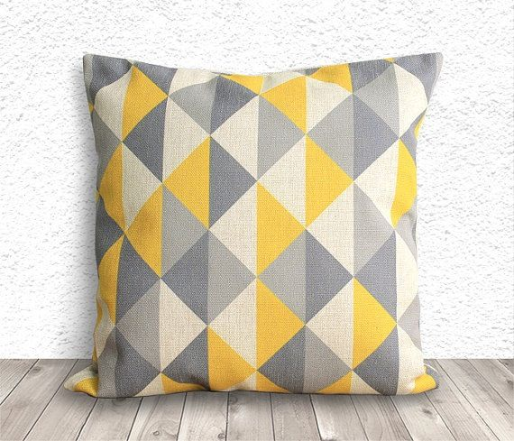 Yellow & grey geometric cushion