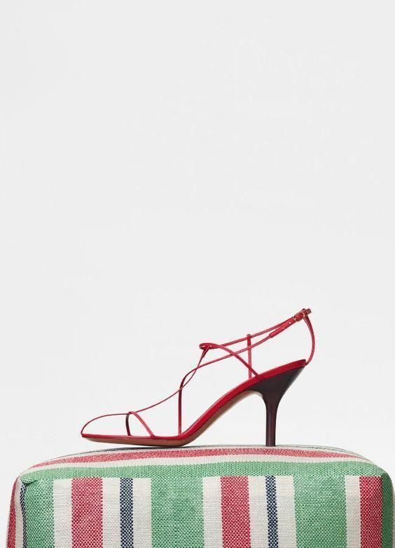 223640791505 CELINE Nude Sandal Red Pop Cage Heels Resort 2018 Phoebe Philo HYPE ...