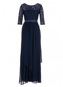 Lace and Chiffon Gown Navy