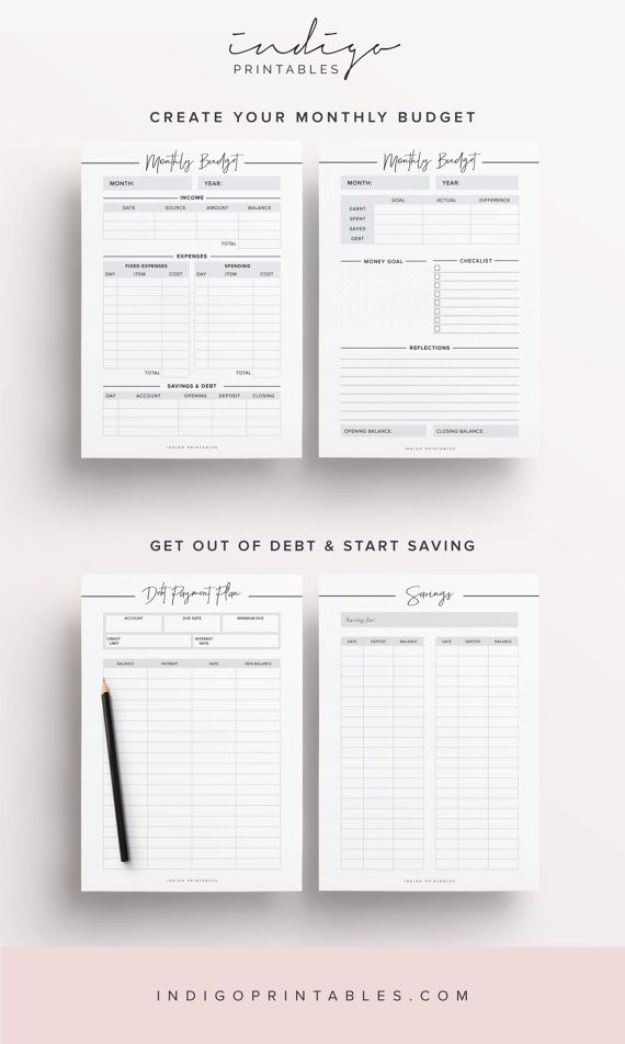 Planificateur de budget finances planificateur par IndigoPrintables