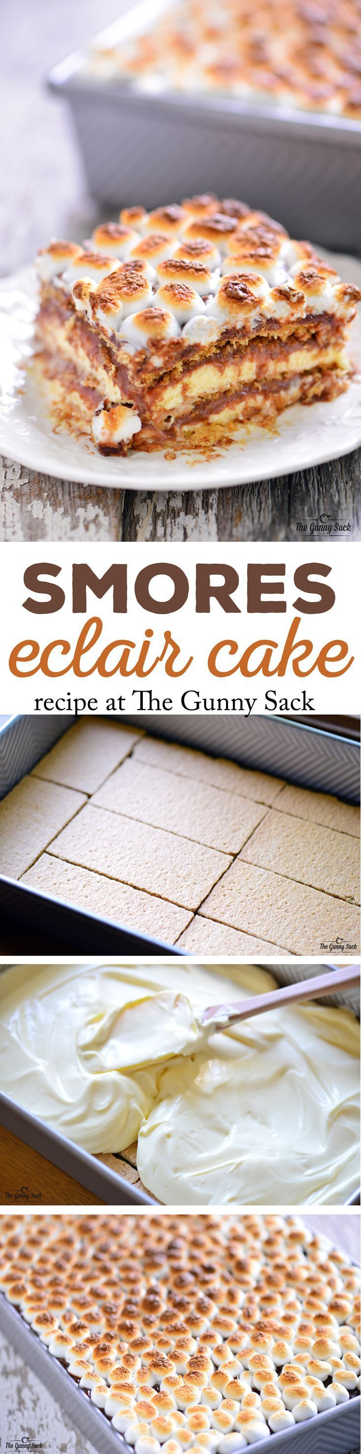 S'mores Eclair Cake - Has luscious layers of graham crackers, vanilla pudding and chocolate topped with toasted marshmallows.