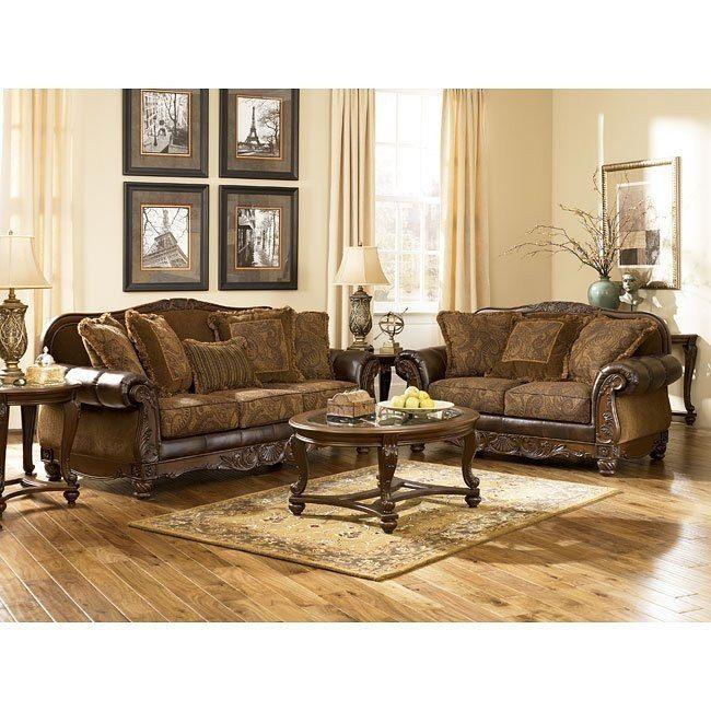 Fresco Durablend Antique Living Room Set Leather Living Room Set Ashley Furniture Living Room Living Room Leather Ashley furniture leather living room sets