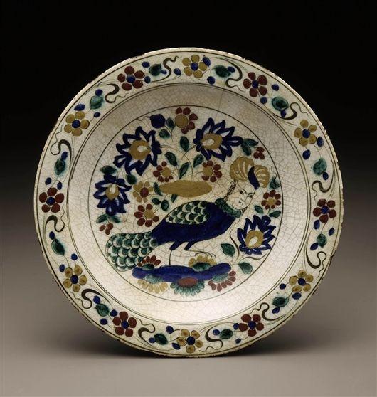 Safavid plate, Kubachi ware,  1600s, Iran.