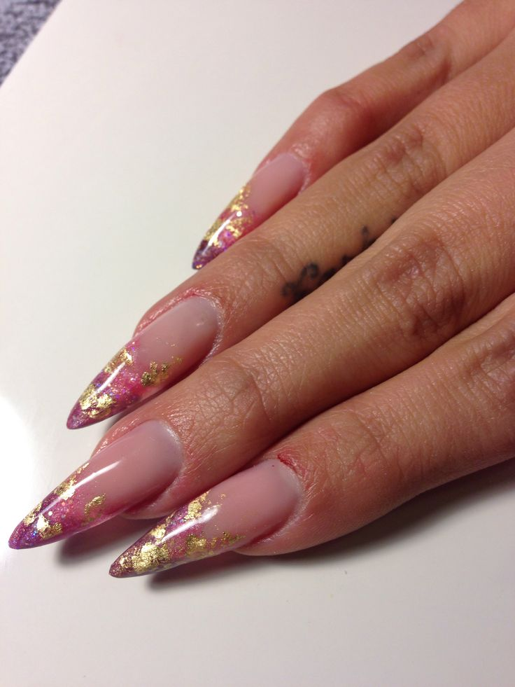 Encapsulated gold leaf gel extensions. Nails by NOMA SF FB.com/nomanails Instagram: @nomanails