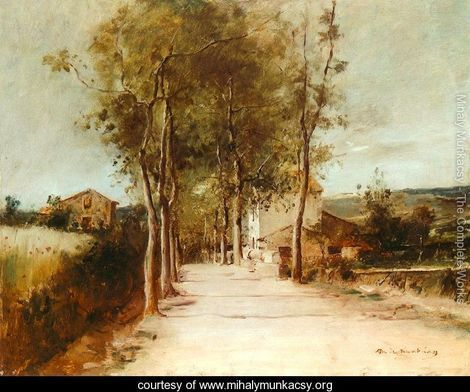 Avenue with One Story House 1882 - Mihaly Munkacsy - www.mihalymunkacsy.org
