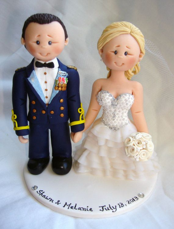 US Army Colonel Groom & Bride  wedding cake topper by ALittleRelic