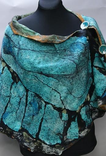 Beautiful nano felt butterfly shawl by Jean Gauger