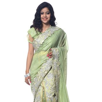 Pista Green Georgette Lehenga Style Saree With Readymade Blouse