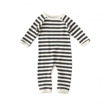 Ecru/grijs gestreept kruippakje - Mister Monkey and Misses Butterfly - Little Label - AW16 - Boys - Girls - Babysuit - Stripes