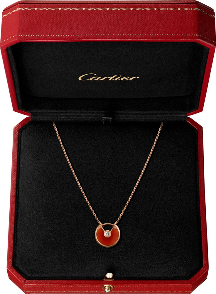 Amulette de Cartier necklace, XS - Pink gold, carnelian, diamond - Cartier
