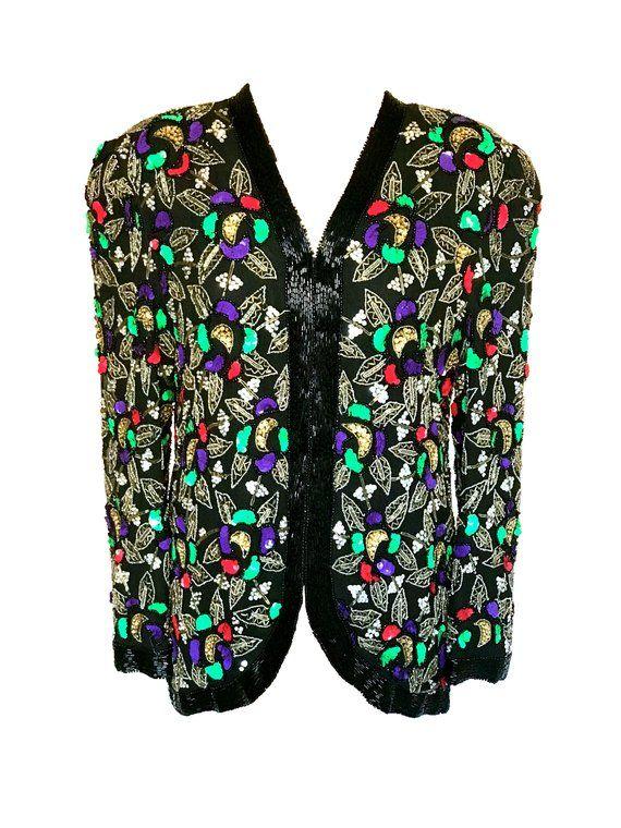 embellished evening jacket minimal beaded jacket 80s black beaded blazer large minimalist evening wear jacket formal blazer