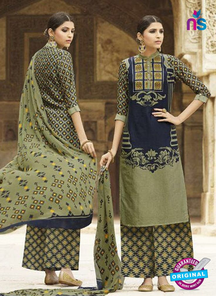 Omtex 1207 A Blue and Mehandi Green Lawn Cotton Plazzo Suit #omtexsalwarsuitsonline #designeromtexsalwarsuits