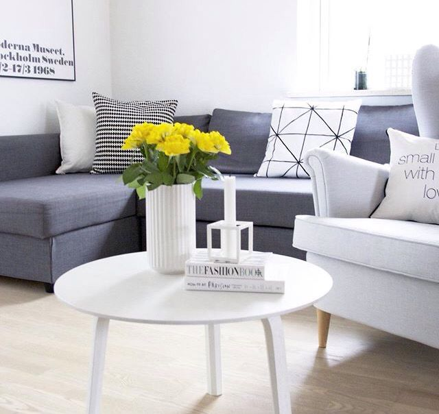Scandinavian Living Room: Lyngby Vase, By Lassen Kubus Candle Holder, Ikea Friheten Sofa