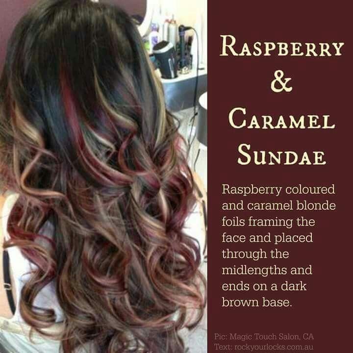 Raspberry, Caramel Blonde Foils/Dark brown base