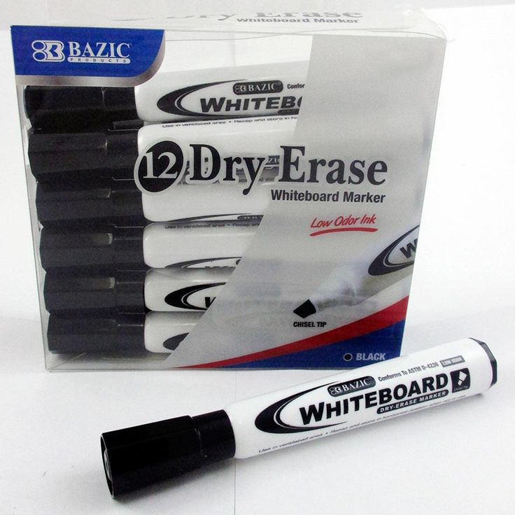 12 Low Odor Dry Erase Whiteboard Marker Black Chisel Tip Pens Office School New