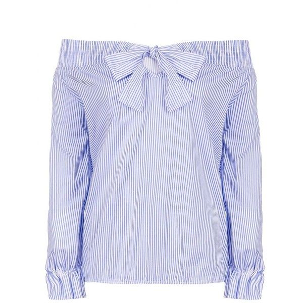 Blue And White Stripe Bardot Bow Top (£23) ❤ liked on Polyvore featuring tops, blue and white striped top, blue and white top, striped top, bow top and stripe top