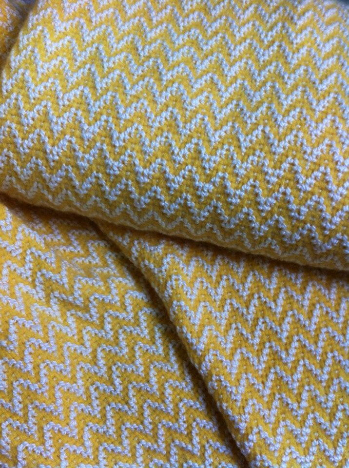 Cotton and Cashmere baby blanket Sunshine Chevron by Seaweaver