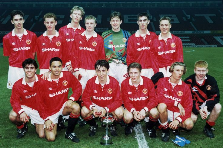 Manchester United youth team pose with the Lancashire Youth Cup following their victory over Blackburn. Back row left to right are: Chris Casper, Nicky Butt, Colin Murdoch, Steven Riley, Darren Whitmarsh, Keith Gillespie and Richard Irvine. Front row are: Ben Thornley, John O' Kane, Gary Neville, David Beckham, Robbie Savage and Paul Scholes. April 1993.