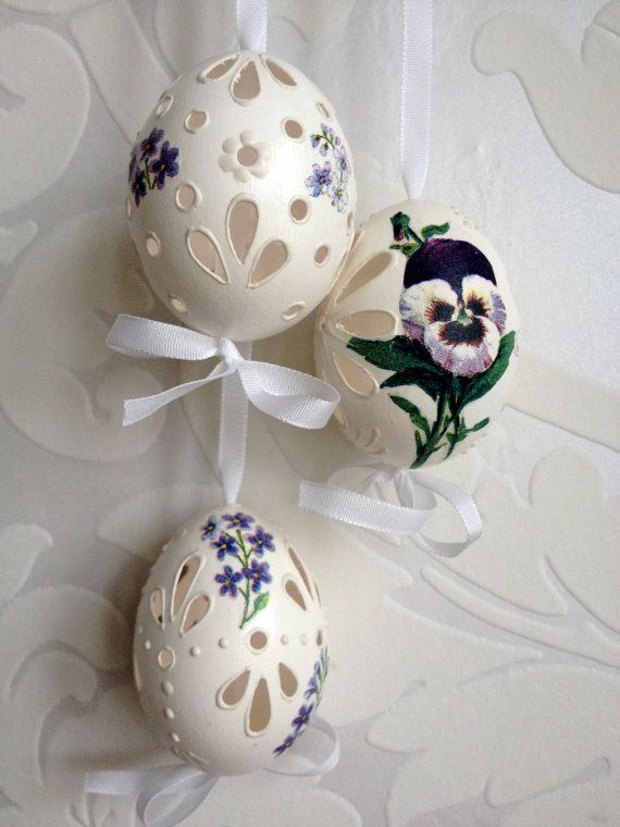 Set of 3 white violet Hand Wax Decorated Egg Madeira with String, Traditional Slavic Wax Pinhead Chicken Egg, Pysanka