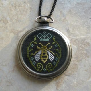 Bee cross stich pendant - The Inspired Stitcher- fun use of an old pocket watch housing