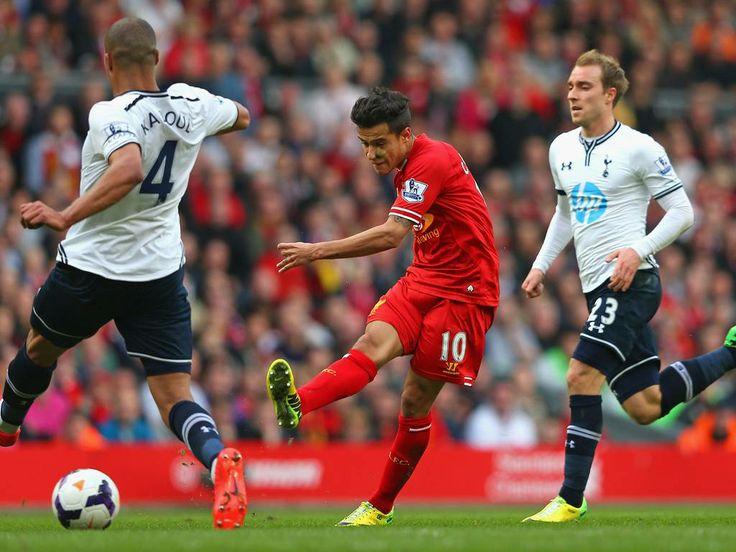 Liverpool 4 Tottenham 0 in 2014: Phillippe Coutinho scores the third goal.
