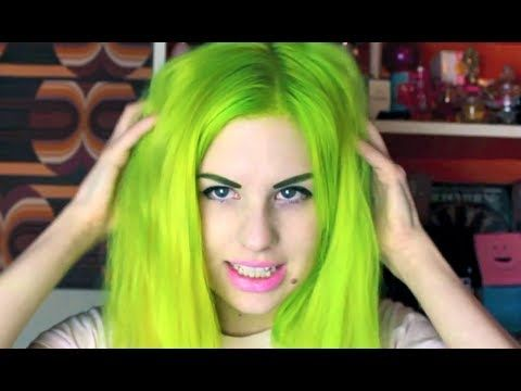 Dye is a mix of Manic Panic Electric Lizard and Electric Banana, Fudge Green Envy and Directions Spring Green.