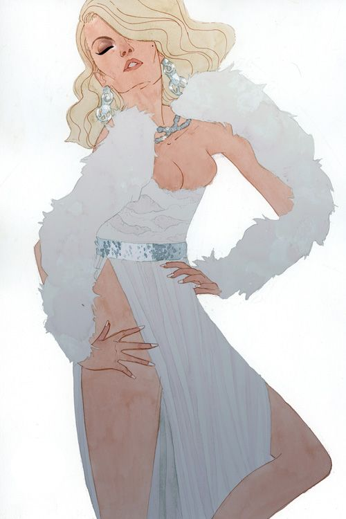 i am SUPER in love with these. x-men women as fashion drawings. emma frost.