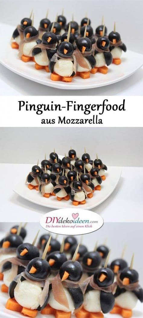 Eure Gäste werden vom Pinguin-Fingerfood aus Mozzarella begeistert sein