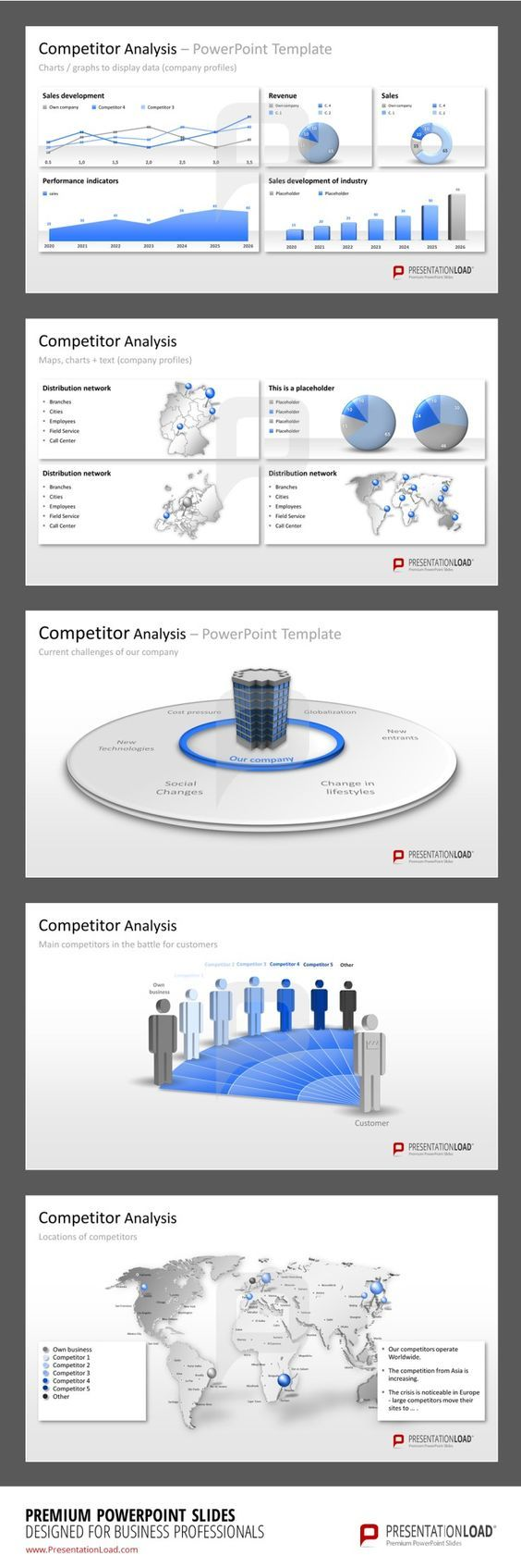 Competitor Analysis PowerPoint Templates The Competitor Analysis PowerPoint Templates contain a variety of Charts and Graphs to display and compare important data of your company and your competitors.   #presentationload  http://www.presentationload.com/competitor-analysis.html: