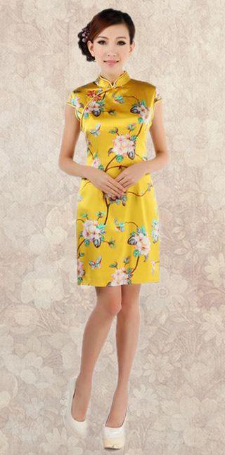 Golden floral heavy silk crepe cheongsam short Chinese qipao summer dress - ASIAN INSPIRED FASHION