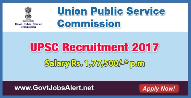 UPSC Recruitment 2017 - Hiring Marketing Officer, Veterinary Officer and other Posts, Salary Rs.1,77,500/- : Apply Now !!!  The Union Public Service Commission – UPSC Recruitment 2017 has released an official employment notification inviting interested and eligible candidates to apply for the positions of Marketing Officer, Veterinary Officer, Lady Medical Officer, Junior Scientific Officer, Assistant Engineer and Junior Research Officer.