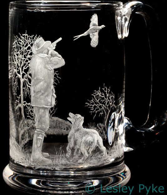 Pheasant shoot engraved on crystal tankard