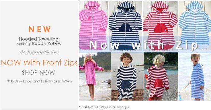 ejkids.com  Hooded Towelling Swim and Beach Robes NOW with Zips