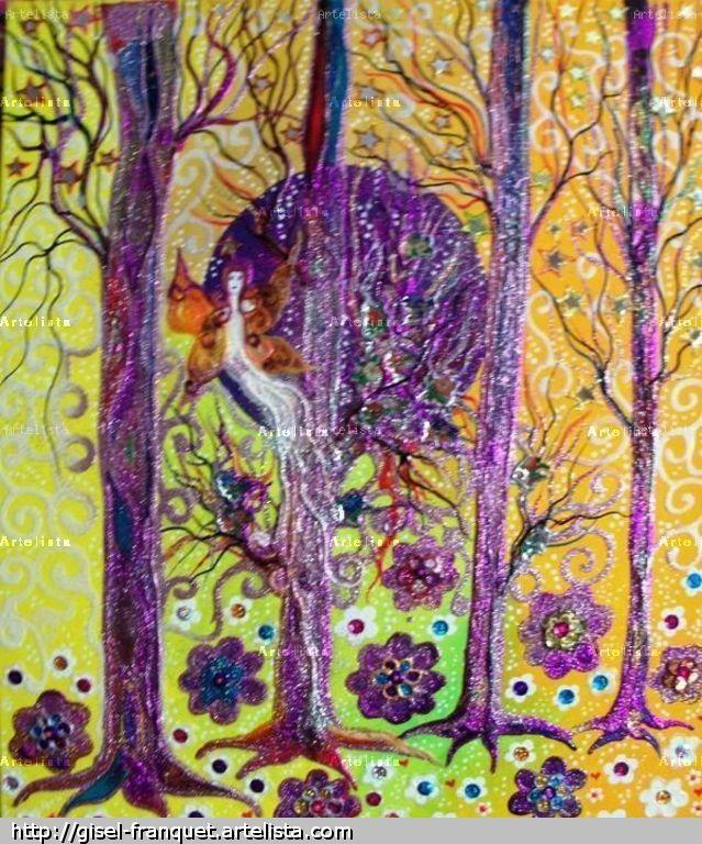 (Cuadro contraste / amarillo-violeta) A continuación vemos una de las pinturas de Gisel Franquet, usando acrílico sobre lienzo, en la que predominan el amarillo y el violeta. Estos dos colores son complementarios, por lo que el contraste surgido se vuelve muy eficaz para dar dinamismo a la obra. Pero el amarillo se va degradando de izquierda ha derecha    hasta convertirse en naranja, perdiendo un poco el contraste surgido entre las dos. Incluye con inteligencia el azul y verde, mejorando…
