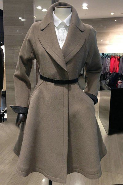 Elegant Turn-Down Collar Long Sleeve Solid Color With Belt Coat For Women
