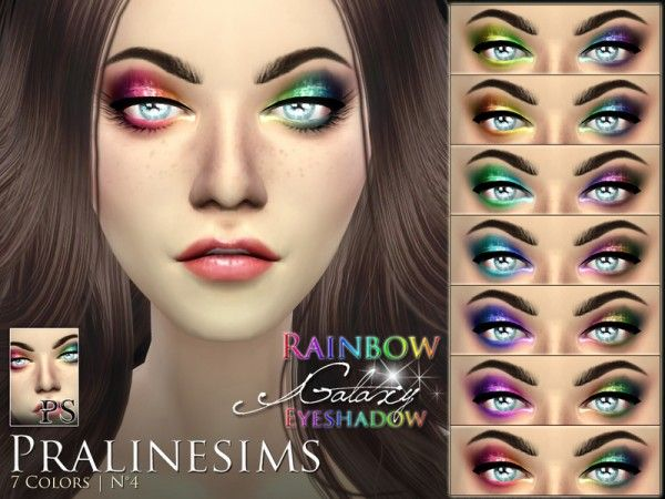 The Sims Resource: Rainbow Galaxy Eyeshadow by Pralinesims • Sims 4 Downloads