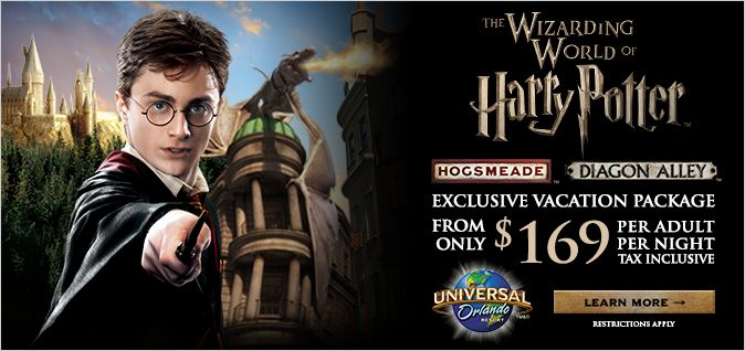 THE WIZARDING WORLD OF HARRY POTTER - EXCLUSIVE VACATION PACKAGE | 4-Night Hotel Accommodations 3-Day Park-to-Park Theme Park Admission and MORE!  | Request your vacation quote today to find out more about this exclusive offer! http://www.emailmeform.com/builder/form/U3oA9Fid7e2094NXBhee