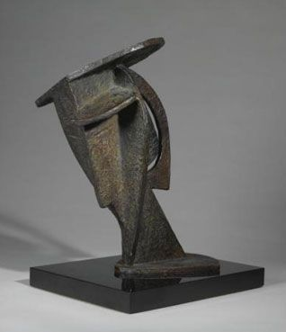 intersecting planes sculpture. alexander archipenko bronze sculpture of a head intersecting planes o