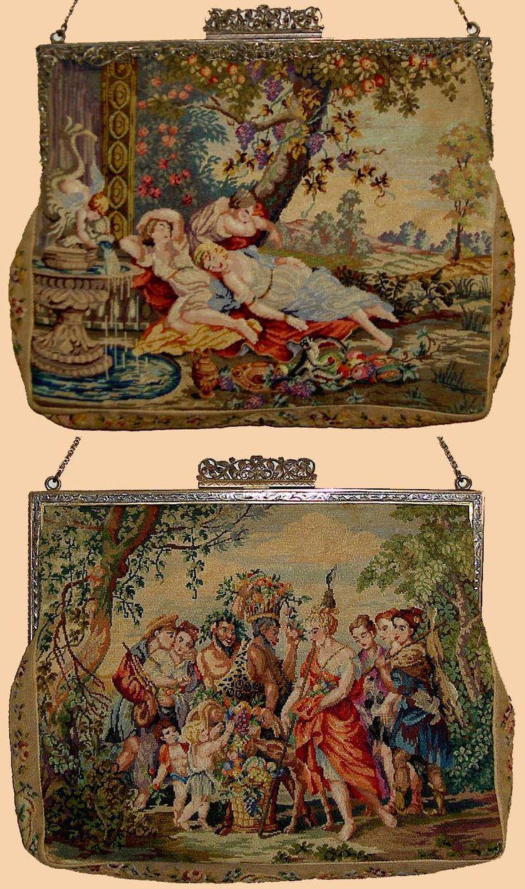 Antique Austrian Needlpoint Hand Bag Circa 1890