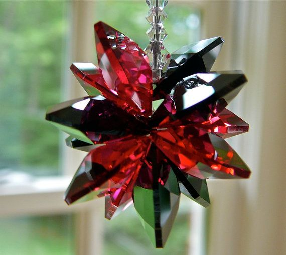 Red and Black Crystal Car Charm Window by HeartstringsByMorgan
