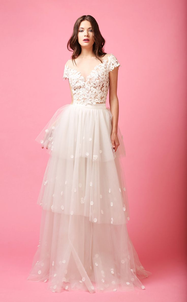 MATCH MADE BRIDAL || ROSIE PETAL SKIRT + IVY LACE TOP  #bridalseparates #lacetop #Tulleskirt #ballerinabride